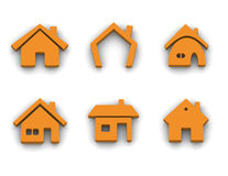 Set of 6 house icons Stock Photos