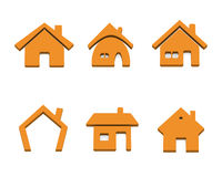 Set of 6 house icons Stock Images