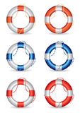 Set of 6 lifebuoy illustrations Stock Image