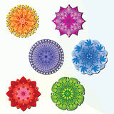 Set of 6 Mandalas - Various Colors. Leaves and Flower Patterns vector illustration