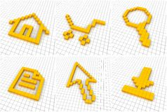 Set of 6 orange icons in grid Royalty Free Stock Photo