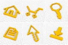 Set of 6 orange icons in grid Royalty Free Stock Photo
