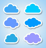 Set of 6 paper colorful clouds Stock Photo
