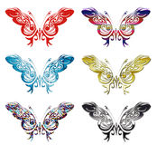 Set of 6 patterned butterflies vector Stock Photo
