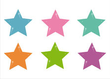Set of 6 stars icons Stock Photography