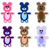 Set of 6 Teddy Bear Stickers Stock Images