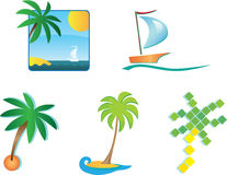 Set of 6 tourism icons and design elements Royalty Free Stock Photos