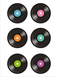 Set of 6 vinyl records icons Royalty Free Stock Photo
