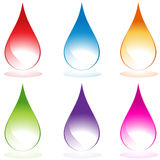 Set of 6 Water Droplets. Set of 6 3D water droplets in various colors Stock Images
