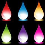 Set of 6 Water Droplets - black background. Set of 6 3D water droplets in various colors - black background Stock Photo