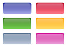 Set of 6 Web 2.0 Glossy buttons Stock Photos