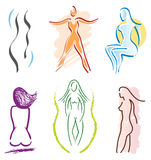 Set of 6 Woman Body Icons - Sports Stock Photography