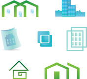 Set of 7 building real estate icons and design ele Royalty Free Stock Photo