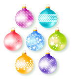 Set of 7 decorate christmas tree balls Royalty Free Stock Photo