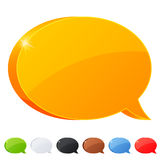 Set of 7 speech bubble symbol in different colors Royalty Free Stock Image