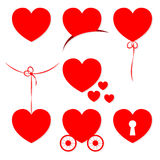 Set of 7 Valentines Day hearts. Stock Photo
