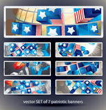 Set of 7 vector bookmark banners. Exploding Sphere with American symbols vector illustration