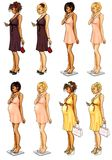 Set of 8 attractive women Royalty Free Stock Images
