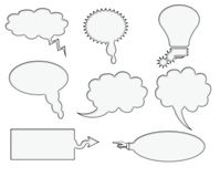 Set of 8 Blank Speech Bubbles Stock Image