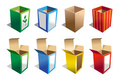 A set of 8 Boxes in different colors Stock Images