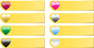 Set of 8  colored hearts post it stickers notes Stock Image