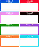 Set of 8 Colorful Name Tags Royalty Free Stock Images