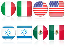 Set of 8 flag. Illustration of a set of circualr and squared flag button, Italy, USA, Israel and Mexico (with real mexican flag symbol Royalty Free Stock Photography
