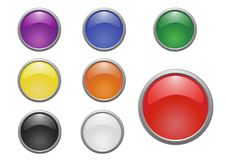 Set of 8 glossy vector buttons. With 3d appearance Stock Photography