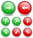 Set of 8 popular buttons - arrow. Red and green glass button set for your design and web interface Royalty Free Stock Image