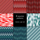 Set of 8 seamless patterns Stock Image
