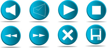 Set of 8 web icon in blue #1 Royalty Free Stock Photos