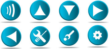 Set of 8 web icon in blue #2 Royalty Free Stock Photo