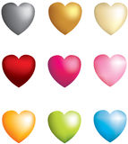 Set of 9 3d icon  hearts Royalty Free Stock Images