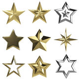 Set of 9 3d stars isolated on white. Set of 9 3d stars with clipping path Royalty Free Stock Images