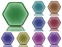 Set of 9 aqua buttons with light reflection Stock Images