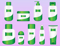 Set of 9 Bio Cosmetic Bottles Royalty Free Stock Photos