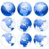 Set of 9 blue icons of Earth. In the vector version of this image you can move any element, change its colour or size without any loss in quality Stock Photography