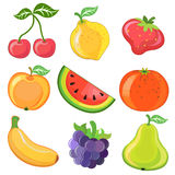 Set of 9 cartoon fruits Royalty Free Stock Image