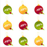 Set of 9 christmas  balls Stock Images