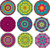 Set of 9 colorful round ornaments, kaleidoscope fl Royalty Free Stock Photo