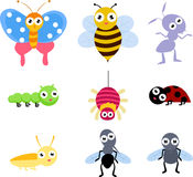A set of 9 common insect icon. Illustration art Stock Photos