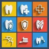 Set of 9 dental web and mobile icons. Vector. Royalty Free Stock Photos