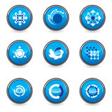 Set of 9 design elemens. In blue colot - vector illustration stock illustration