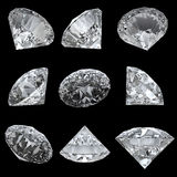 Set of 9 diamonds with clipping path. Set of 9 diamonds on black background with clipping path Royalty Free Stock Photography