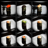 Set of 9 different gunkanmaki (sushi) Stock Photography