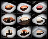 Set of 9 different nigirizushi (sushi) Royalty Free Stock Photos