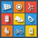 Set of 9 ecology web and mobile icons. Vector. Stock Photos