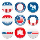 Set of 9 election campaign badges vector illustration