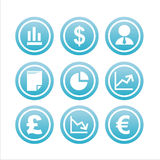 Set of 9 finance signs Stock Image