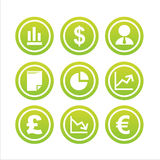 Set of 9 finance signs. Set of 9 green finance signs Royalty Free Stock Images